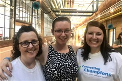 Connecting Champions: Party coordinators Robin Kushner, Arias Fischer and Izzy Tetino during a Night of Inspiration at the Energy Innovation Center, Wednesday.