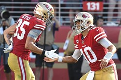 San Francisco quarterback Jimmy Garoppolo celebrates after scoring the winning touchdown late in the fourth quarter against the Steelers Sunday, Sept. 22, 2019, at Levi's Stadium.