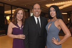 From left, chairman of the board Carmen Malloy, keynote speaker Allen Gutierrez, and event host Gisele Fetterman.