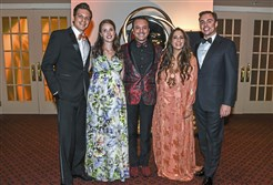 Event chairs from left, David and Rebecca Belczyk, Michael Komo, Danielle Katz and James Snyder.