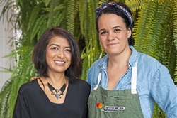 Leah Lizarondo, left, CEO and co-founder of 412 Food Rescue, with chef Jamilka Borges .