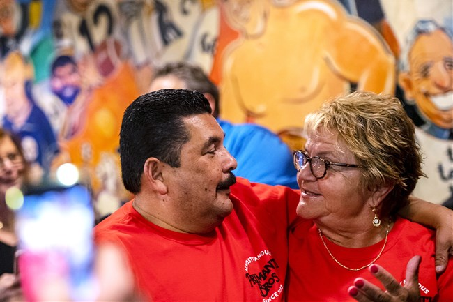 "Guillermo Rodriguez of the Jimmy Kimmel Show hugs Toni Haggerty, general manager at the Primanti Bros. original shop in the Strip District. Guillermo stopped by Primanti's on Wednesday as part of his ""Guillermobile"" tour to four cities."