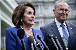 Speaker of the House Nancy Pelosi, D-Calif., and Senate Minority Leader Chuck Schumer, D-N.Y., address a news conference at the White House after meeting with President Donald Trump and congressional leadership in Washington on Wednesday, Oct. 16, 2019.