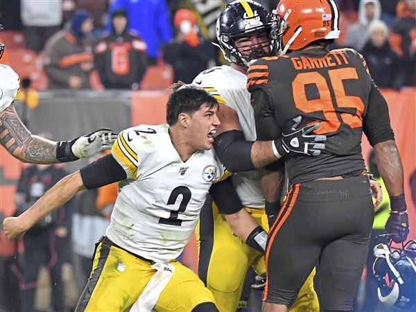 Steelers quarterback Mason Rudolph goes after Browns defensive end Myles Garrett near the end of the game Thursday, Nov. 14, 2019, at FirstEnergy Stadium in Cleveland.