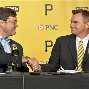 Pirates owner Bob Nutting welcomes new general manager Ben Cherington during a press conference on Monday at PNC Park.