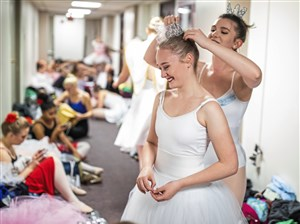 Corinne Tuthill helps Kathryn Kerr, with her hair backstage during the performance of The Nutcracker by the Pitt Ballet Club at the Bellefield Hall Auditorium on Sunday, Nov. 17, 2019, in Oakland. The student run classical ballet group organizes two shows a year.