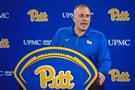 Pat Narduzzi speaks to the media in February on the South Side.