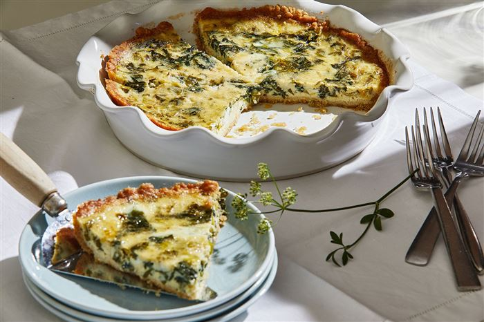 Lighten up quiche with an olive oil crust